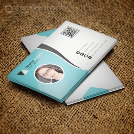 White-blue - business card