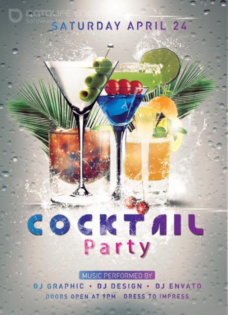 Cocktail party psd flyer template