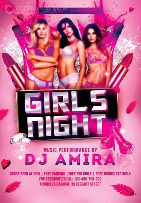 Girls Night psd flyer template