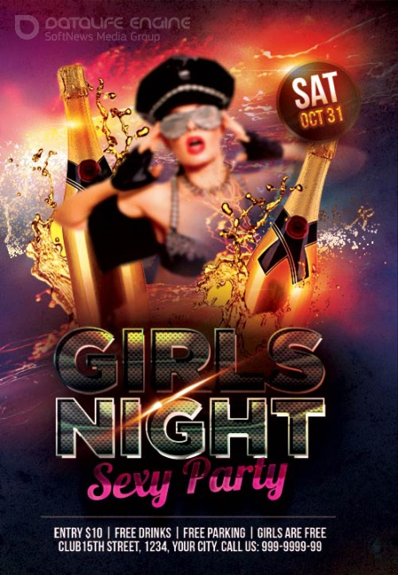 Girls Night sexy party psd flyer template