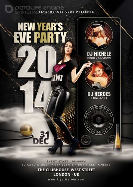 New Years Eve Party psd flyer template